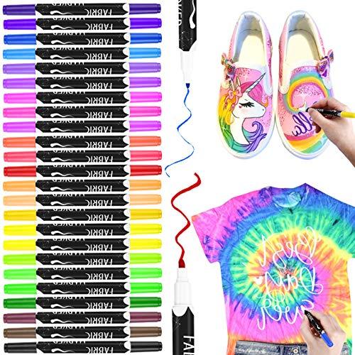 Textilstifte, RATEL 24 Farben Wasserfeste Textilmarker Stoffmalstifte mit Doppelkopffeder, Permanent Marker zum Dekorieren von T-Shirts, Lätzchen, Textilien, Schuhen