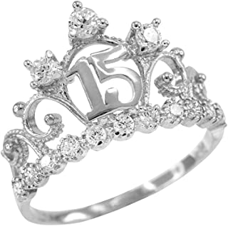 14k White Gold CZ-Studded Crown Sweet 15 Anos Quinceanera Ring