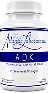 Atlantic Laboratories ADK - A D3 K2 (as MK-7) 90 Count Vitamins Organic Ingredient Physician Formulated Gluten Free | Non-GMO