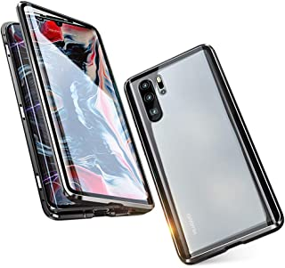 Case for Huawei P30 Pro Flip Cover Magnetic Adsorption Technology Metal Bumper Frame with Transparent 9H Tempered Glass Fu...