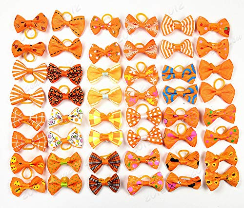 yagopet 40pcs/20pairs Small Dog Hair Bows Autumn Dog Bows Orange Dog Hair Bows Topknot Mix Designs...