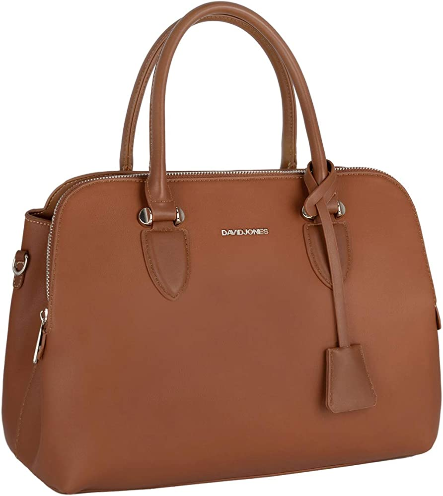David jones bugatti, elegante borsa a mano/tracolla per donna, in pelle sintetica, marrone CM5055 COGNAC