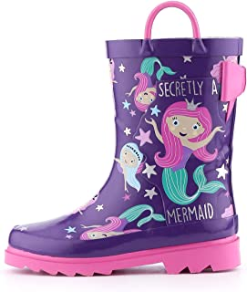 K KomForme Toddler Girl Kid Rubber Rain Boots,Waterproof Outdoor Soft Anti-Slip Shoes