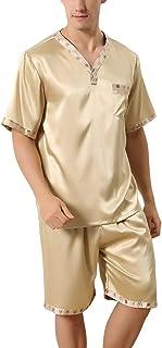 Men's Pajamas Pajamas Satin Short Two Piece Summer Pajamas Pajamas Mens with Special Style Short Bottoms V Neck with Pocket