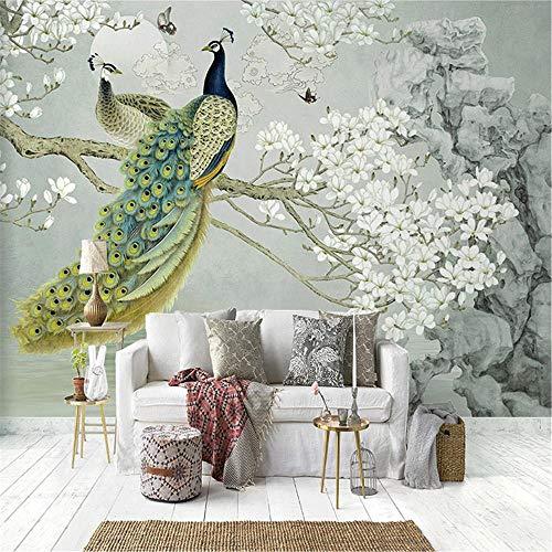 OTXA Benutzerdefinierte Wandbild Tapete 3D Pfau Magnolie Blumen Wandmalerei Wohnzimmer Studie Wohnkultur Wand-250X175