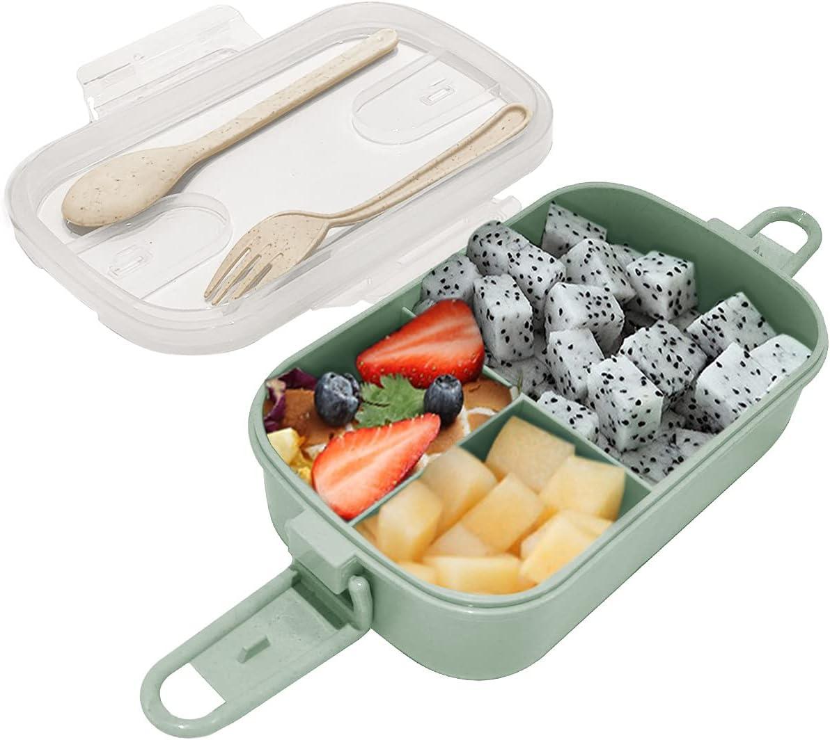 Dolinvo Fiambrera para Kindergarten Snacks Bento Sellada y Oficina para Adultos con 3 Compartimentos y Fiambrera con Cubiertos Microondas y Lavavajillas Reutilizable(Verde 1000 ml)