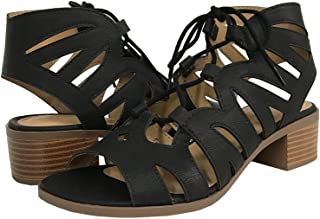 58f7ffd7ae3b City Classified Dalles! Women s Open Toe Cutout Lace up Stacked Heel Sandals