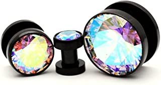 316L Black Stainless Steel Screw on Plugs with Single Press Fit Multicolored CZ gauges (PS-126) - Sold as a Pair