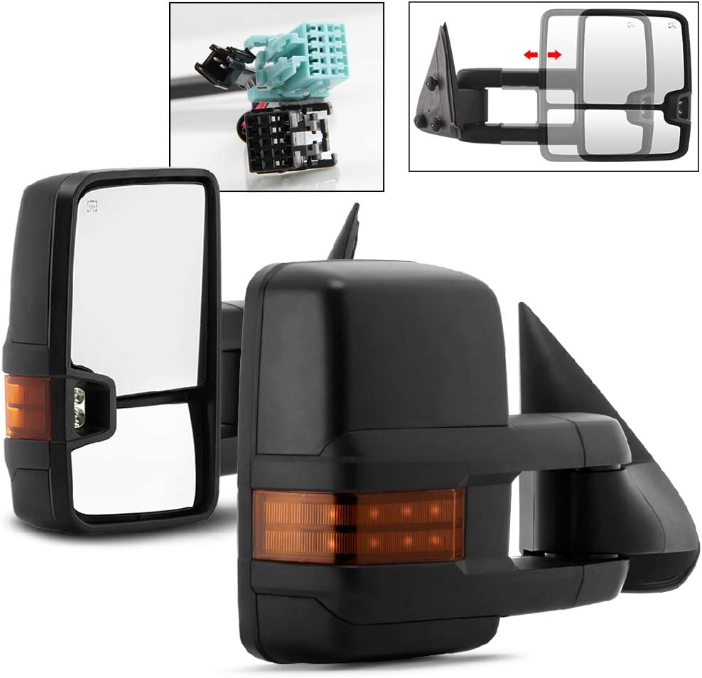 Washington Outlet sale feature Mall Acanii - Power Heat +LED Telescoping Signal Mirrors Side Towing