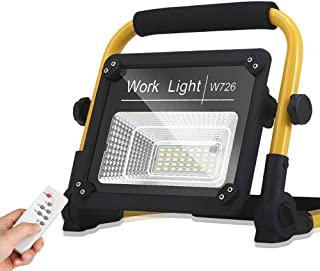 50W LED Rechargeable Portable Work Light, Outdoor Waterproof Flood Lights with Remote Control, for Camping,Hiking,Car Repa...