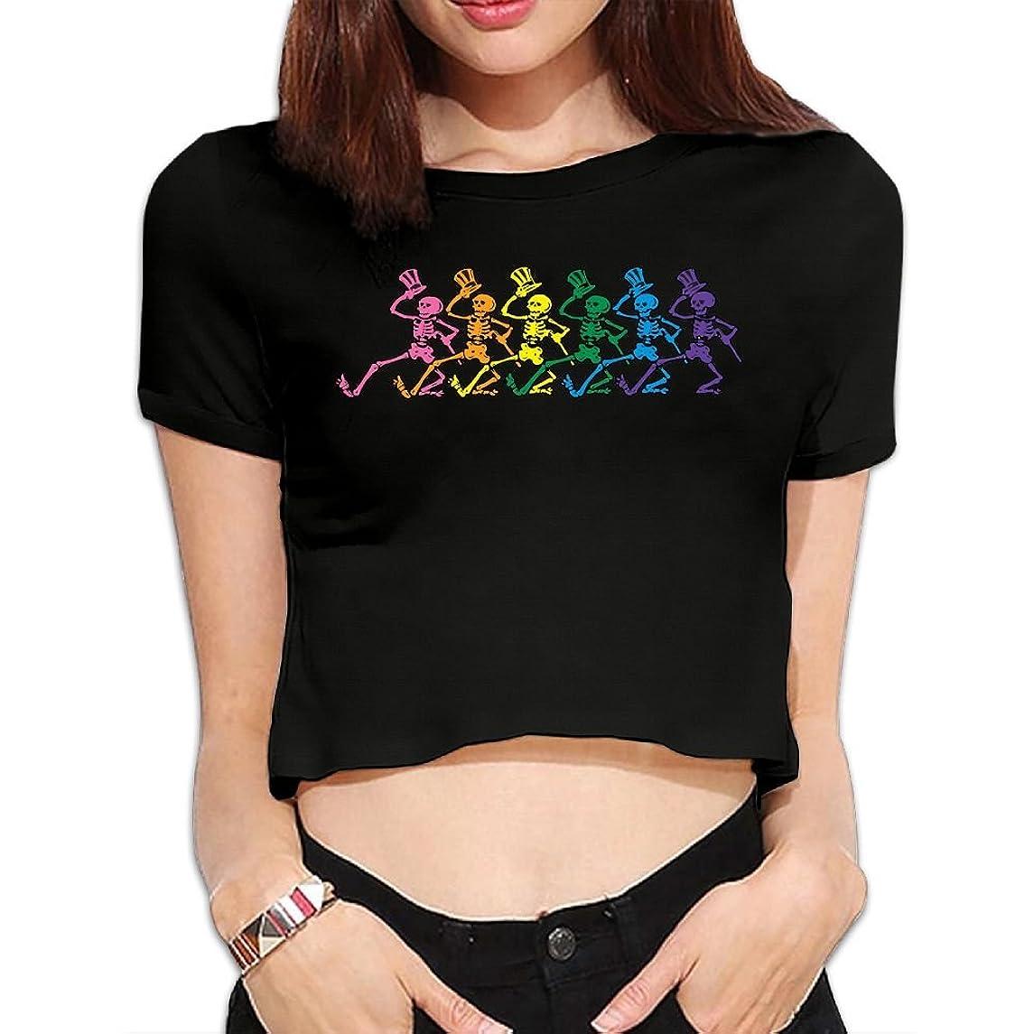 Gtaiquxin Grateful Dead Women's Midriff-Baring Short Sleeve T Shirt Black