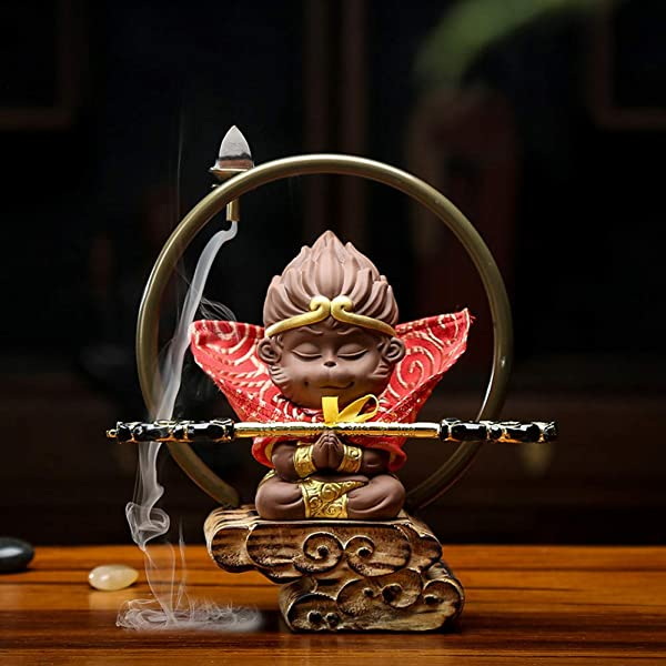 LONLLXL Backflow Incense Burner Ceramics With 60 Pcs Incense Cones Tea Pet Ornaments Fight Against The Buddha Qi Tiansheng Saint Monkey Wang Wukong Gold Hoop Stick Boutique Creative Back Incense