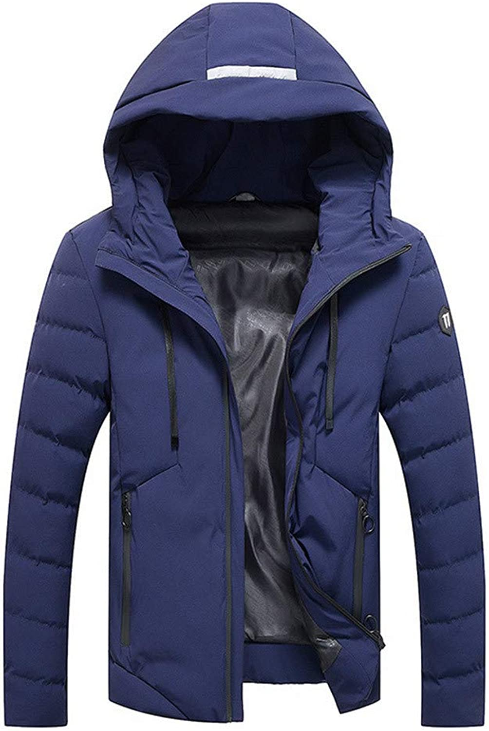Mens Winter Warm Hooded Zipped Thick Fleece Coat Cotton-Padded Jacket (color   Dark blueee, Size   XL)