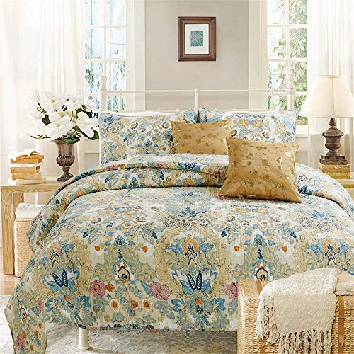 Cozy Line Home Fashions Luxury Classic Bedding Quilt Set, 100% Cotton Beige Blue Floral Pink Flower Bohemian Style Reversible Bedspread Coverlet for Women (Art Painting, Queen - 3 Piece)