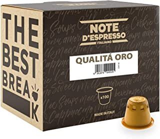 Note D'Espresso Qualità Oro, Capsule per caffè compatibili Nespresso, 5,6 g x 100 capsule