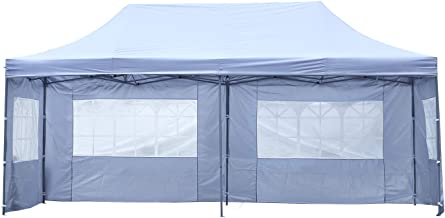 KOOLWOOM 10x20 FT Pop up Canopy Carport,Party Tent Folding Heavy Duty Gazebo with Removable Sidewalls and Wheeled Bag Waterproof (White with 4 Sidewalls)