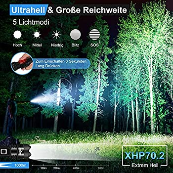 Shadowhawk Lampe Torche LED Ultra Puissante, Lampe de Poche Rechargeable, Lampe Tactique 5000 Lumens CREE XHP70.2, IP67 Étanche 5 Modes D'éclairage pour Camping Randonnée Urgence (avec batterie 21700)