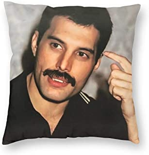 SSG One Street Velvet Soft Cozy Home Decor Square Throw Pillow Case Wedding Gift, Vintage 80s Freddie Mercury Photo Hidden Zipper Cushion Cover for Car Playroom