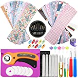 Rotary Cutter Set with 20 PCS Quilting Fabric Bundles, Rotary Cutter, A4 Cutting Mat, Sewing Fabric Chalk, Sewing Patchwork Precut Fabric with Storage Bag for DIY Scrapbooking Art Craft Supplies
