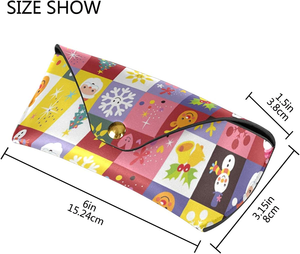 Multiuse Goggles Bag Wallet PU Leather Christmas Element Colorful Pattern Portable Sunglasses Case Eyeglasses Pouch