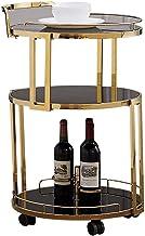 Serveerwagen van gehard glas Servicewagen met wijnrek Keuken Woonkamer Slaapkamer (kleur: zwart glas Maat: gouden beugel)...
