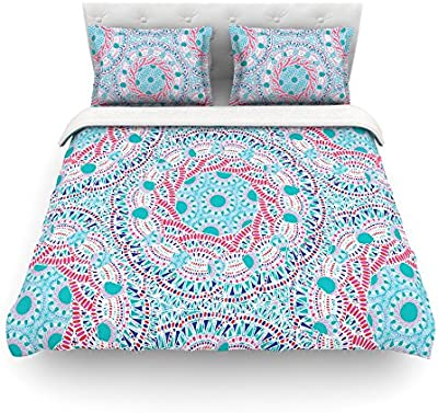 Kess InHouse Jennifer Rizzo Floating Feathers Aqua Blue White King Cotton Duvet Cover 104 by 88-Inch