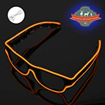 KingCorey El Wire Glasses Electric Styles Light Up Flashing LED Sunglasses Light up Costumes for Party Halloween Fashion Neon LED Costume Party DJ Bright (Orange)
