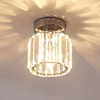 Ganeed Mini Flush Mount Ceiling Lamp,Crystal Close to Ceiling Light,1-Light Round Pendant Lighting Fixtures for Home Entry...
