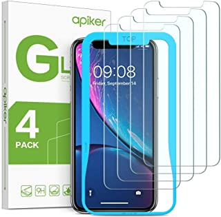 [4 Pack] Screen Protector for iPhone XR, apiker Tempered Glass Screen Protector with [Alignment Frame] for iPhone XR (6.1 Inch,2018 Release)