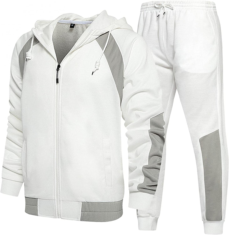 XUNFUN Men's Casual Tracksuits 2 Piece Full Zip Long Sleeve Hooded Sweatshirts Trousers Running Athletic Sweatsuits Set
