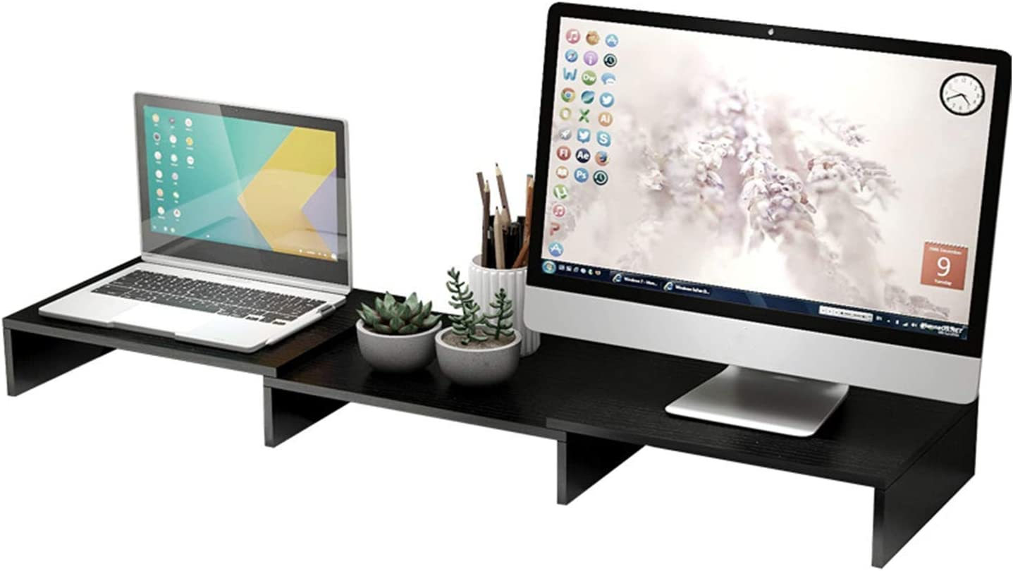 CAM2 Dual Monitor Stand Riser,Adjustable Length and Angle Multi Screen Stand,3 Shelf Desktop Organizer Stand Riser,Max 45