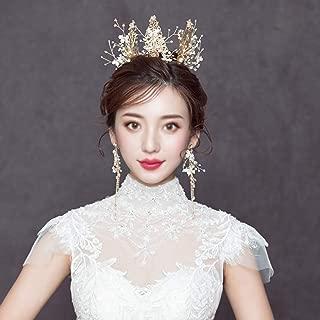Bridal Crown Headdress, Imitation Pearl/Diamond Crown, Handmade Beaded Wedding Hair Accessories Earrings, Wedding Dress Accessories, Crown + Earrings