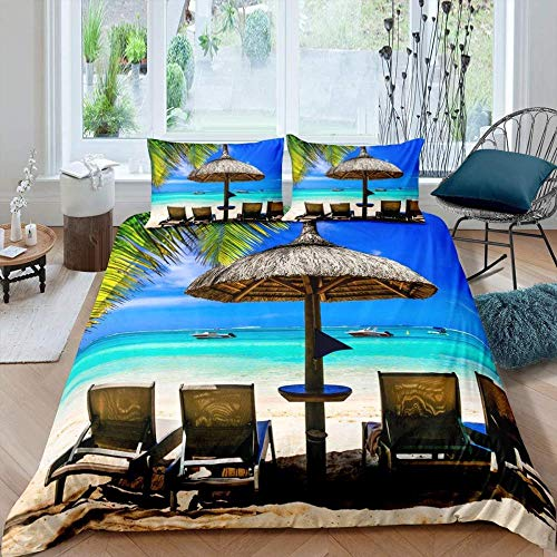 MCCYFRGA Duvet 3 Pieces Blue Sky Caribbean Sea Tree Boat Tent Umbrella Chair Landscape Printed Duvet Cover With Zipper Closure For Adults Girls, Soft Microfiber Bedding (1 Duvet Cover, 2 Pillow Sham
