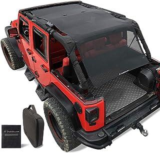 Shadeidea Jeep Wrangler Sun Shade JK Unlimited Sunshade JKU 4 Door Top 2007-2018 Front+Rear+Trunk-Black Mesh Screen Cover UV Blocker with Grab Bag Storage Pouch-10 Years Warranty