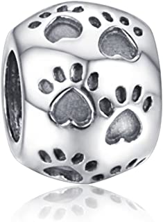 Andante-Stones Argento Massiccio Sterling 925 Originale Perlina Bead Pfoten Tierpfote Ciondolo da Donna Charm per braccial...
