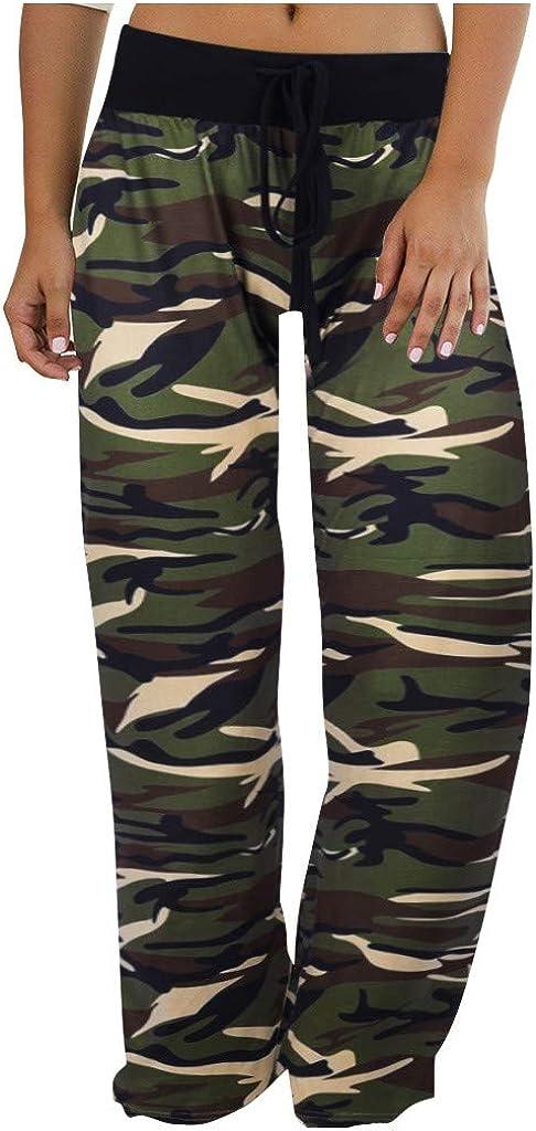 BPOF99 Women's Camouflage Drawstring Waist Pants Long Workout Yo