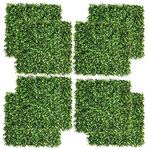 """DearHouse 8 Pieces 20""""x 20"""" Artificial Boxwood Panels Topiary Hedge Plant, Privacy Hedge Screen UV Protected Suitable for Outdoor, Indoor, Garden, Fence, Backyard and Decor"""