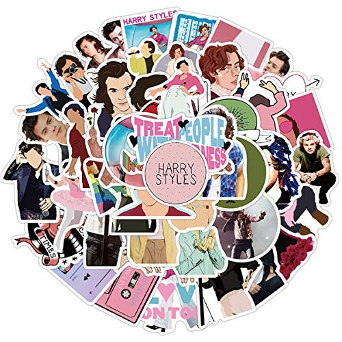 Singer Harry Styles Stickers 50PCS for Laptop and Water Bottles,Waterproof Durable Trendy Vinyl Laptop Decal Stickers Pack for Fans Water Bottles, Computer, Travel Case (Harry Styles)