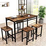 HCWORLD, 5 Pieces Dining Set, Kitchen Table and Chairs with 4 Bar Stools, Perfect for Breakfast Nook, Living Room(Brown)
