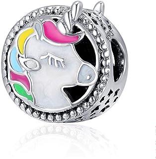 Charm in argento Sterling 925 per braccialetto europeo, con panda, gatto, albero genealogico, uccello, pinguino, alla mod...