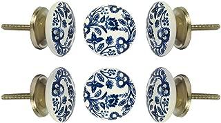 Set of 6 Cabinet Knobs Ceramic Beckenham Handmade Drawer Pull Diameter 1.6
