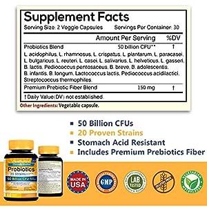 NewRhythm Probiotics 50 Billion CFU 20 Strains, 60 Veggie Capsules, Targeted Release Technology, Stomach Acid Resistant, No Need for Refrigeration, Non-GMO, Gluten Free