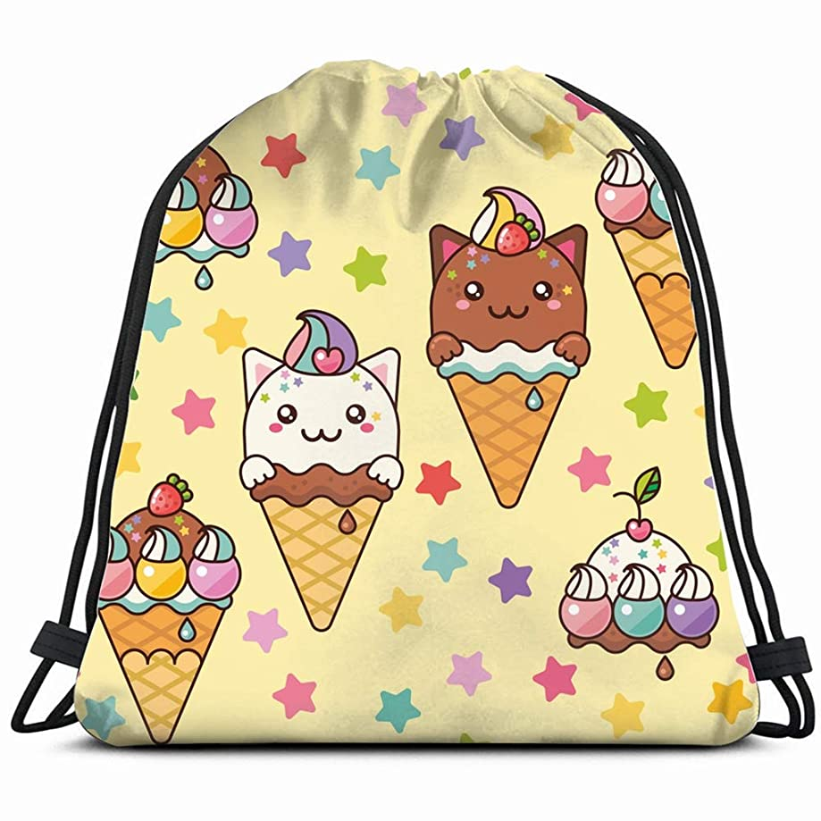 pattern cute kittens ice cream food and drink Drawstring Backpack Bag Gym sack Sport Beach Daypack for Girls Men & Women Teen Dance Bag Cycling Hiking Team Training 17X14 Inch