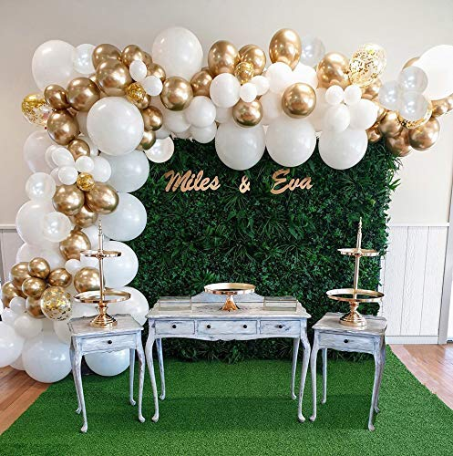 ARCLAND 132pcs Balloon Arch Kit With Pump White & Gold Metallic Confetti Balloons Latex With Decorating Garland Strip & Glue Dots For Birthday, Wedding, Party