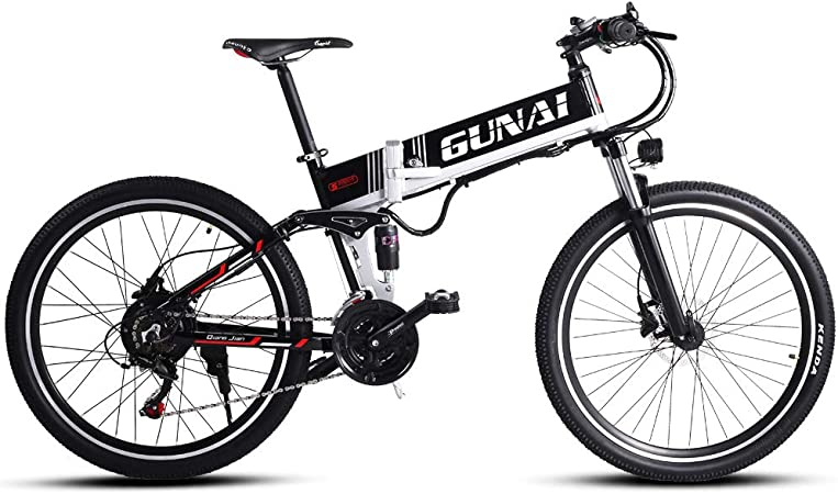 GUNAI Electric Mountain Bike,26 inch Folding Bike 21 Speed with 48V Hidden Battery and Disc Brake