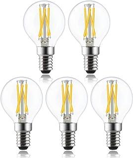 Bonlux P45 LED filamento frío regulable E14 Bombillas LED luz fría casquillo pequeño 4 W equivalente a 40 W 400 lm luz blanca fría 6000 K Vintage LED E14 Pack de 5