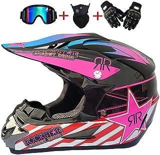Unisex Motorradhelm Set Handschuhe JCLDG Motocross Helm Maske Damen Fullface Motorrad DH Cross Offroad Enduro Mountainbike Helme Schutzhelm ATV Helm Adult Brille