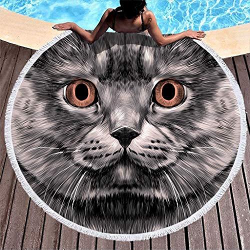 Wecrayon - Toalla de playa redonda de microfibra para dos personas, diseño de gato, blanco, 150 cm