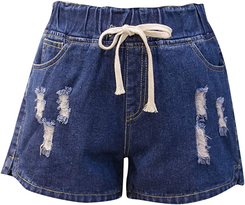 Jumaocio Casual High Waisted Stretchy Jeans Drawstrin Denim Shorts Hot Pants