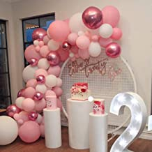 Soonlyn Rose Gold Balloons Latex Balloons 100 Pcs 12 Inch Pink White Party Balloons Garland for Baby Shower Bridal Shower Wedding Party Birthday Party Decorations